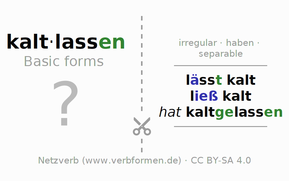 Flash cards for the conjugation of the verb kaltlassen