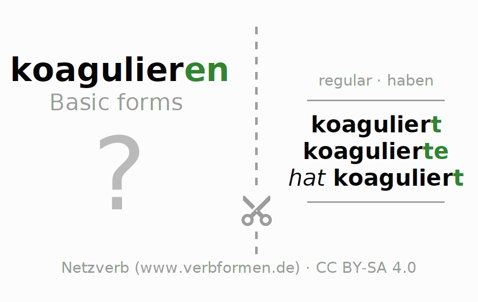 Flash cards for the conjugation of the verb koagulieren (hat)