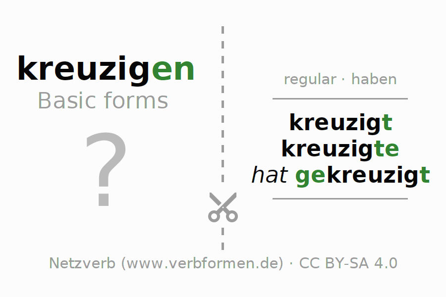 Flash cards for the conjugation of the verb kreuzigen