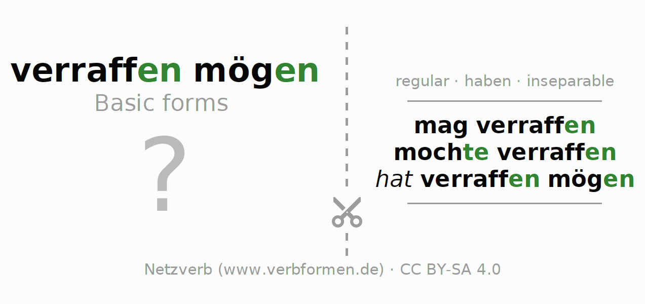 Flash cards for the conjugation of the verb mag verraffen