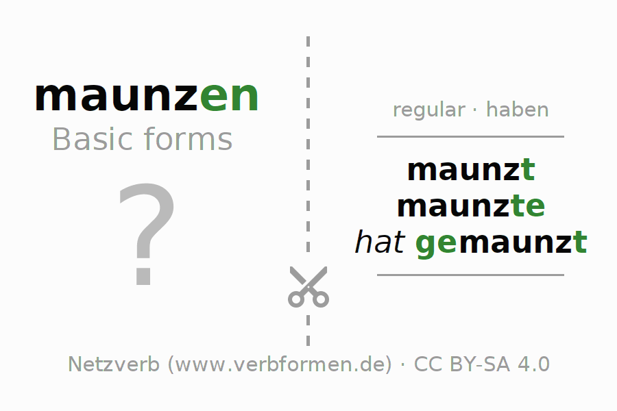 Flash cards for the conjugation of the verb maunzen