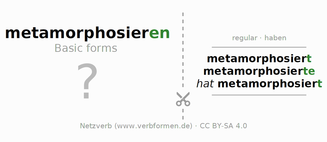 Flash cards for the conjugation of the verb metamorphosieren