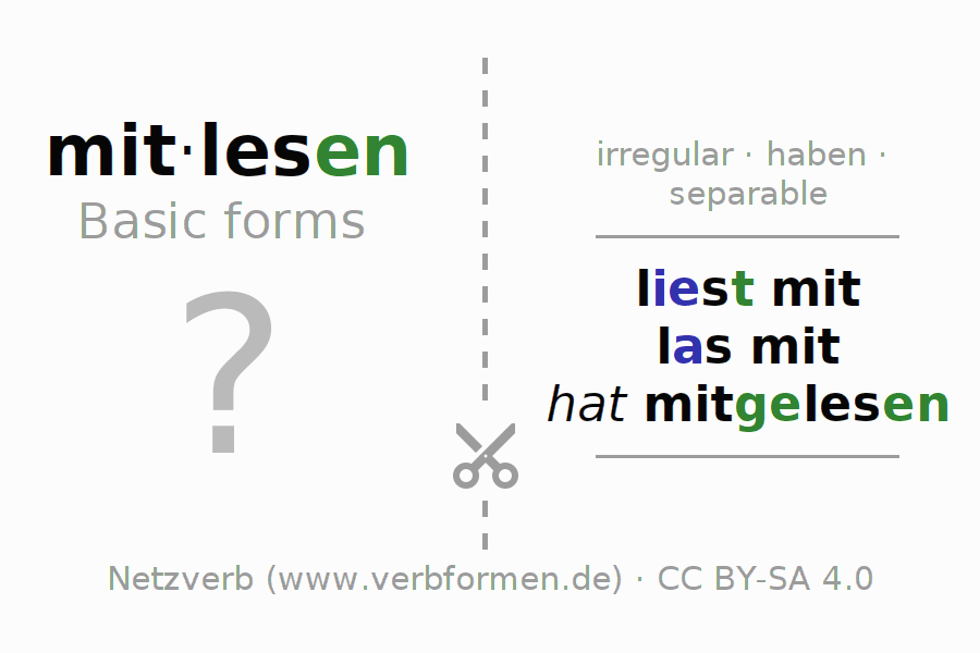 Flash cards for the conjugation of the verb mitlesen