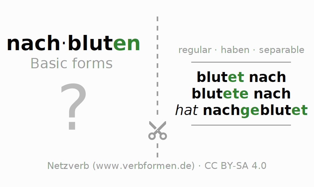Flash cards for the conjugation of the verb nachbluten
