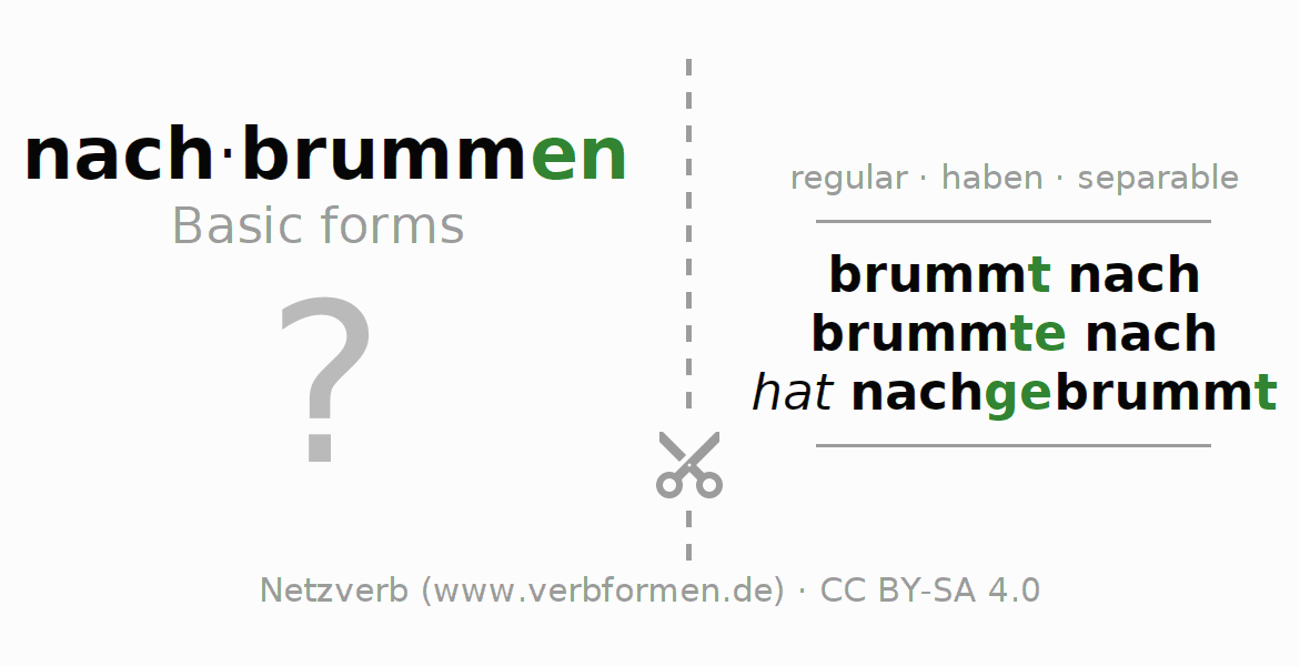 Flash cards for the conjugation of the verb nachbrummen