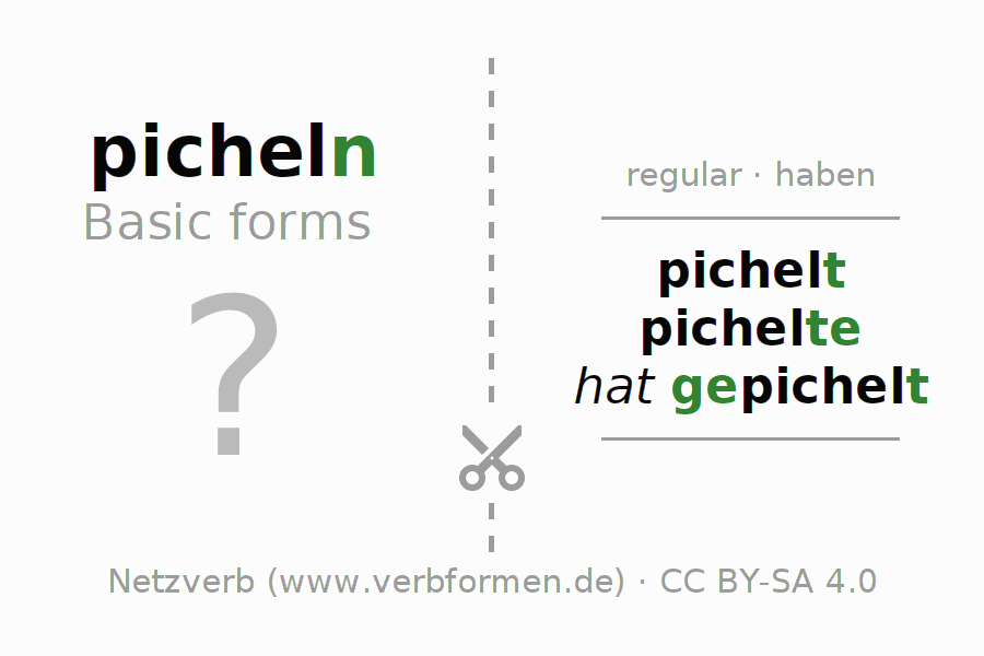 Flash cards for the conjugation of the verb picheln