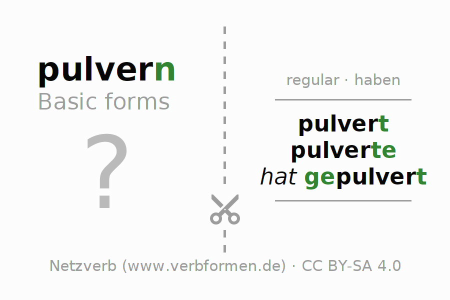 Flash cards for the conjugation of the verb pulvern