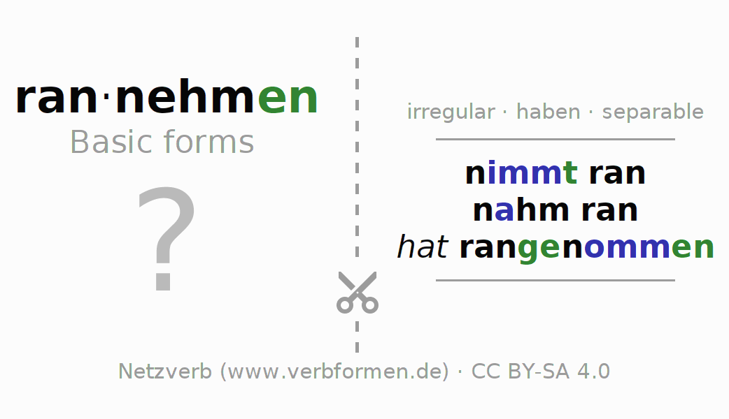 Flash cards for the conjugation of the verb rannehmen