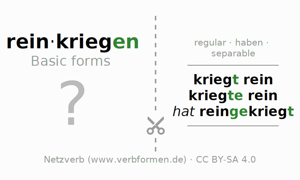 Flash cards for the conjugation of the verb reinkriegen
