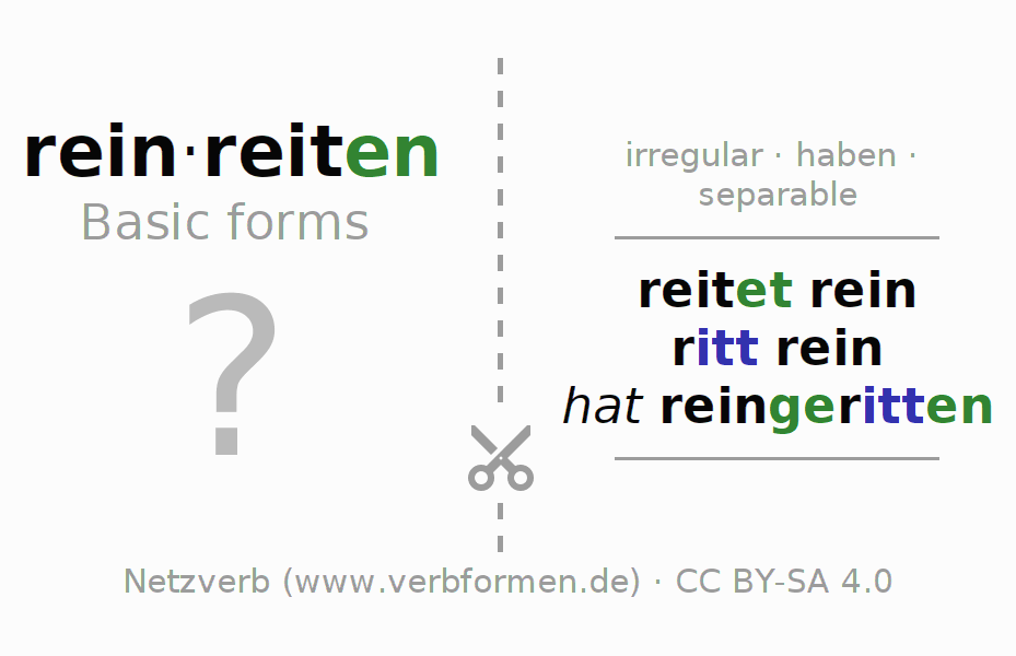 Flash cards for the conjugation of the verb reinreiten (hat)