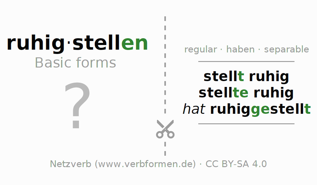 Flash cards for the conjugation of the verb ruhigstellen