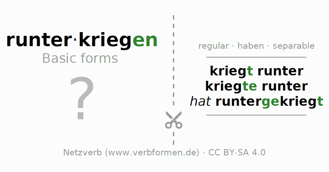 Flash cards for the conjugation of the verb runterkriegen
