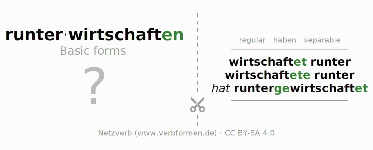 Flash cards for the conjugation of the verb runterwirtschaften