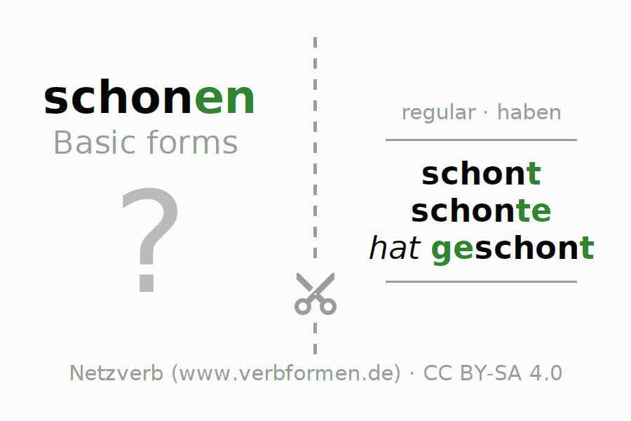 Flash cards for the conjugation of the verb schonen