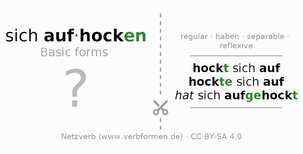 Flash cards for the conjugation of the verb sich aufhocken (hat)