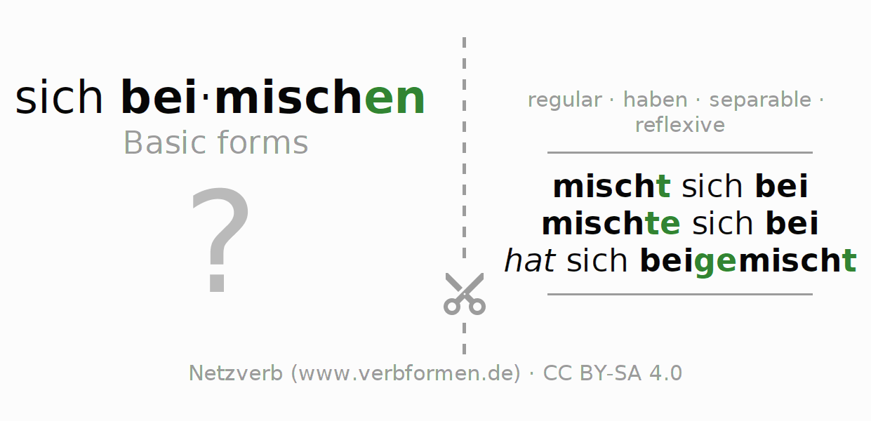 Flash cards for the conjugation of the verb sich beimischen