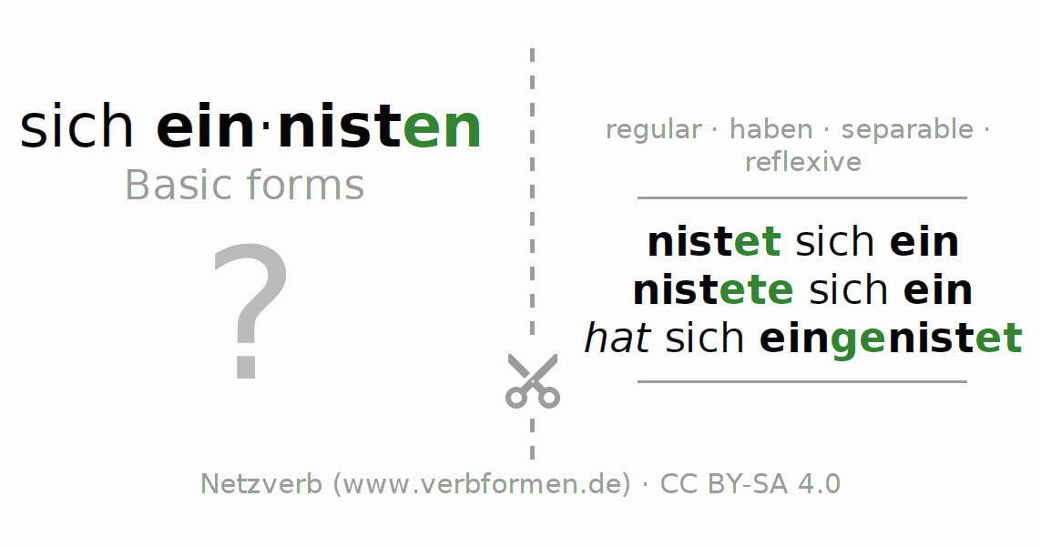 Flash cards for the conjugation of the verb sich einnisten