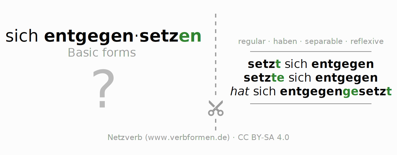 Flash cards for the conjugation of the verb sich entgegensetzen