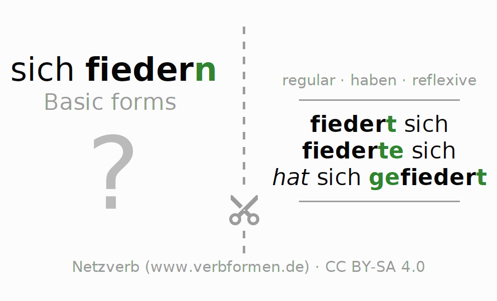 Flash cards for the conjugation of the verb sich fiedern