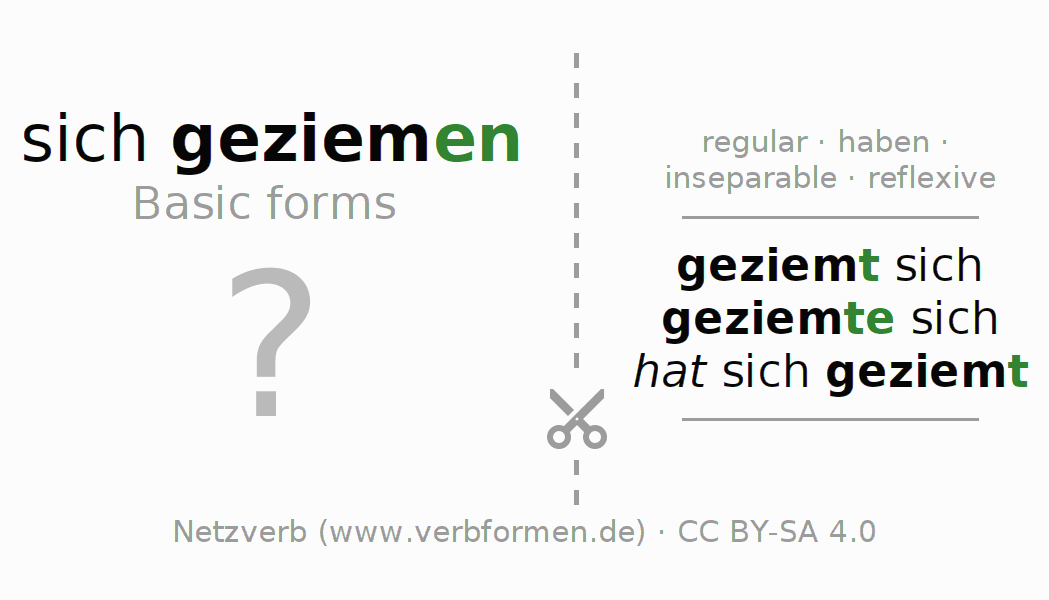 Flash cards for the conjugation of the verb sich geziemen
