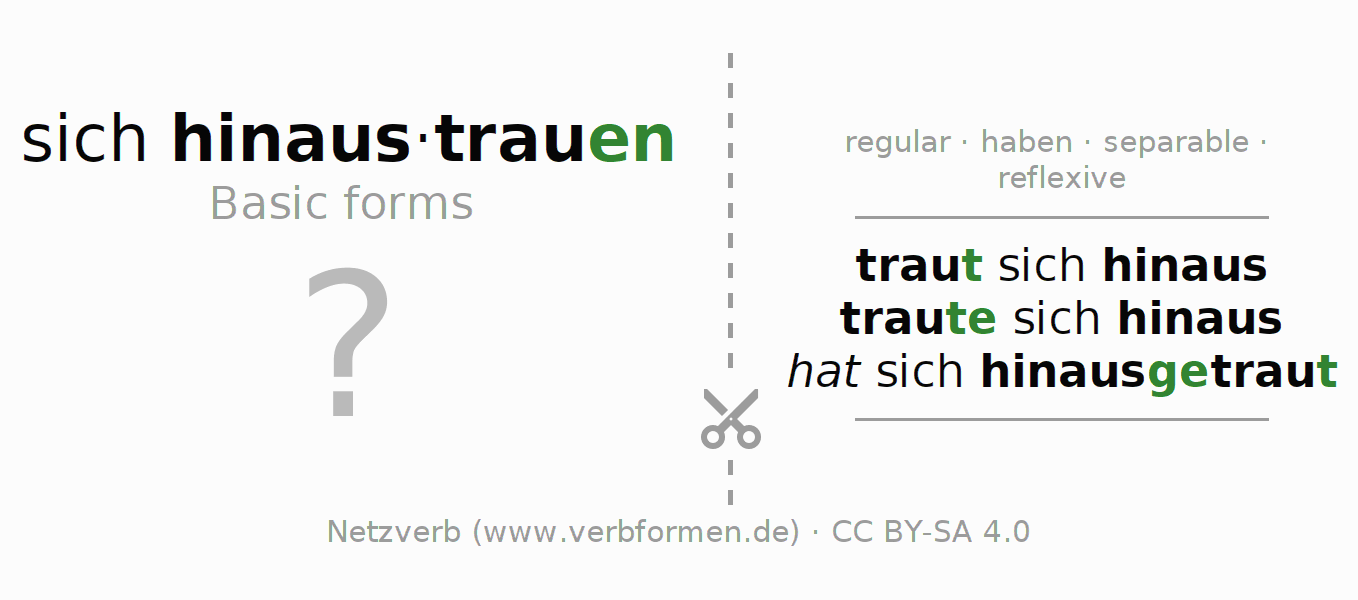 Flash cards for the conjugation of the verb sich hinaustrauen