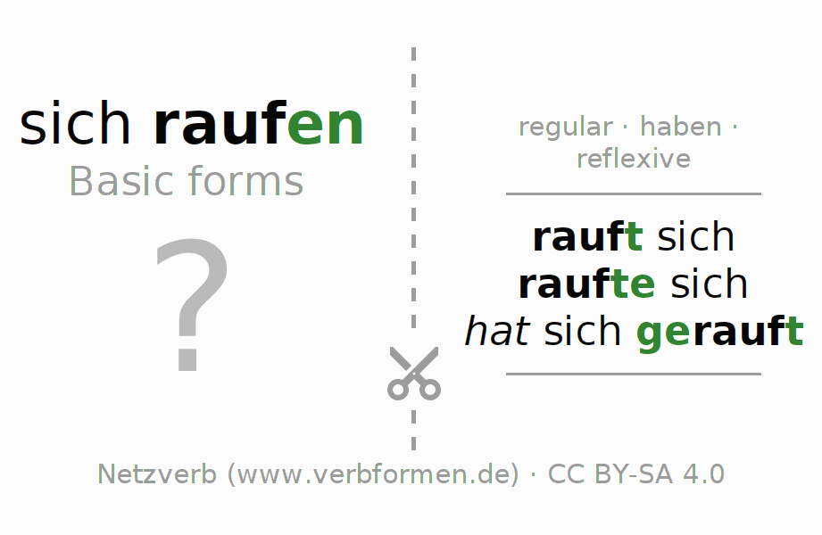 Flash cards for the conjugation of the verb sich raufen