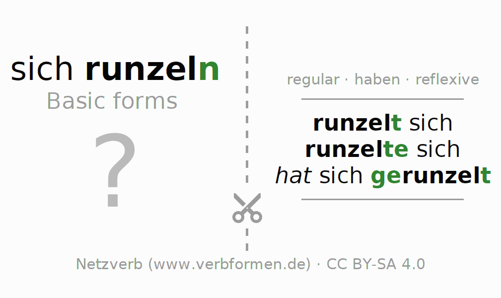 Flash cards for the conjugation of the verb sich runzeln
