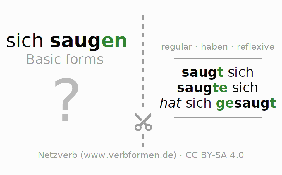 Flash cards for the conjugation of the verb sich saugen (regelm)