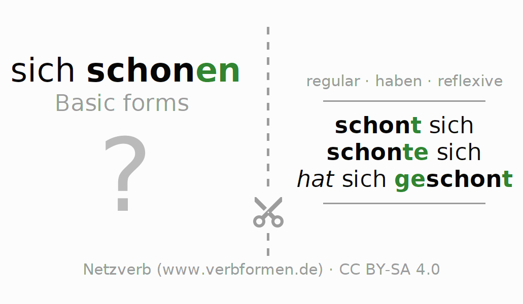 Flash cards for the conjugation of the verb sich schonen