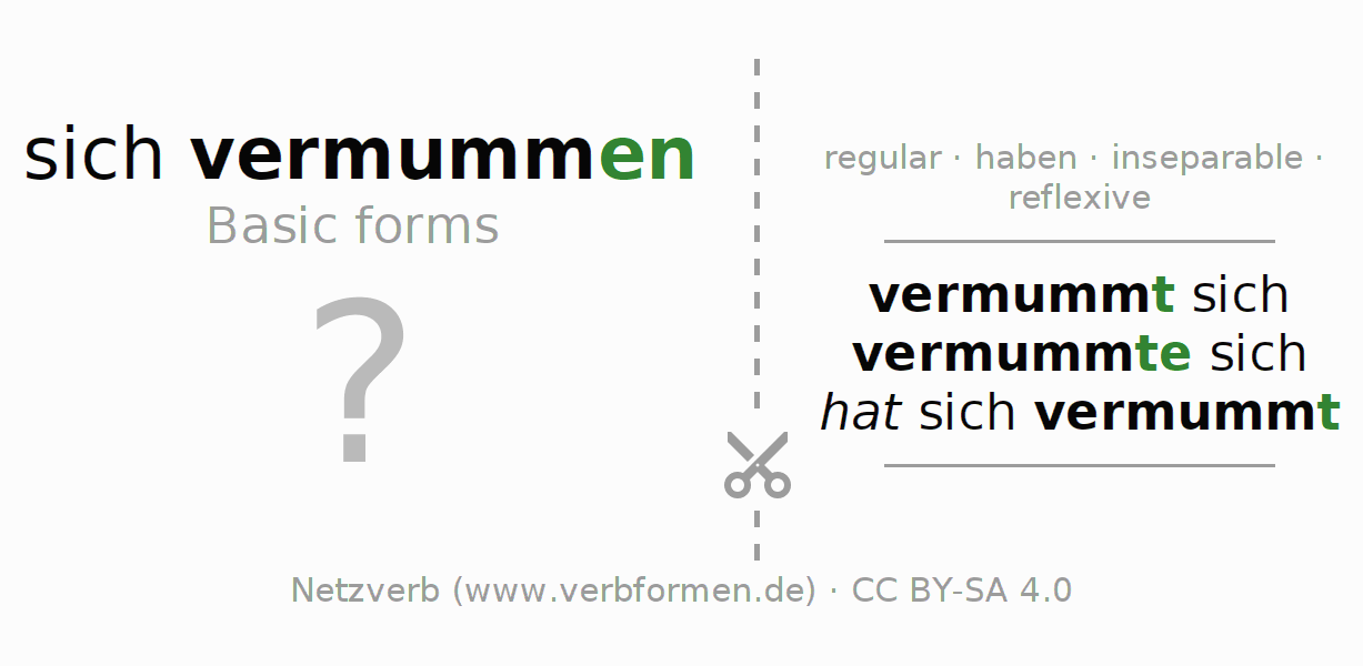 Flash cards for the conjugation of the verb sich vermummen