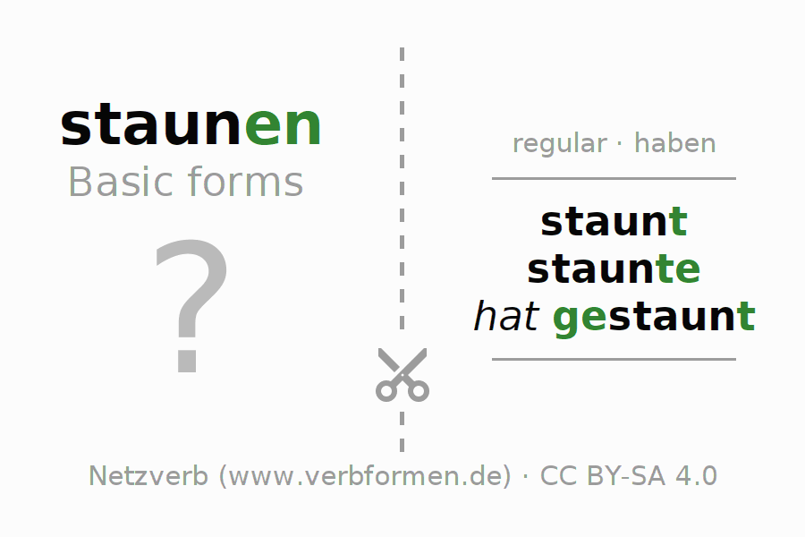 Flash cards for the conjugation of the verb staunen
