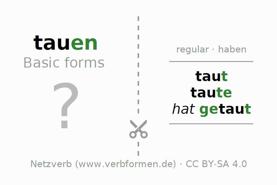 Flash cards for the conjugation of the verb tauen (hat)