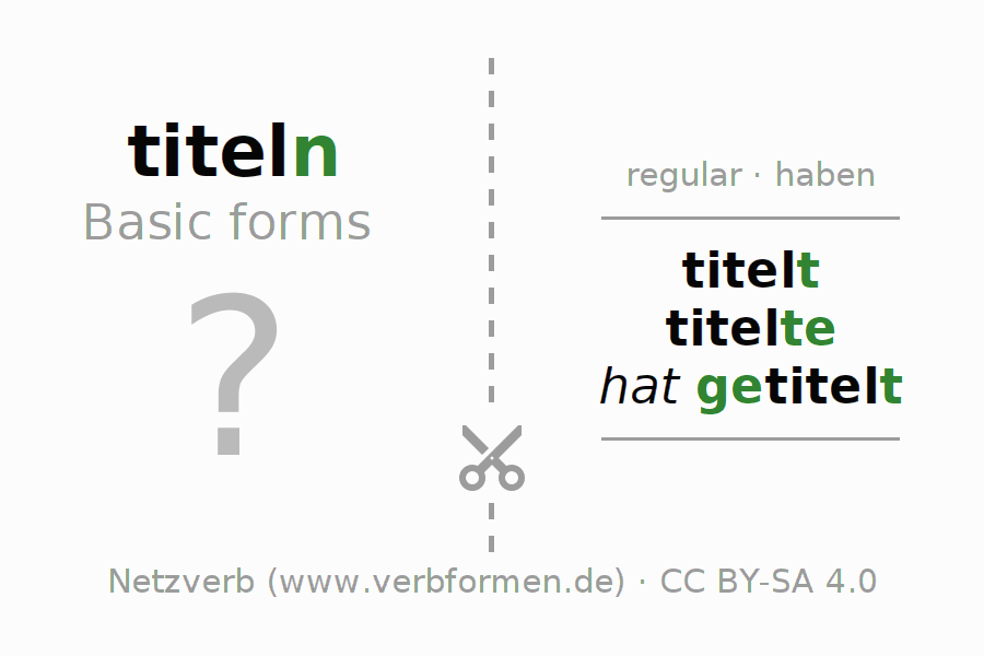 Flash cards for the conjugation of the verb titeln