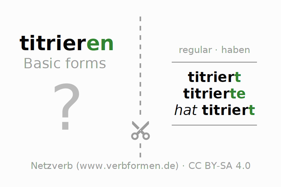 Flash cards for the conjugation of the verb titrieren
