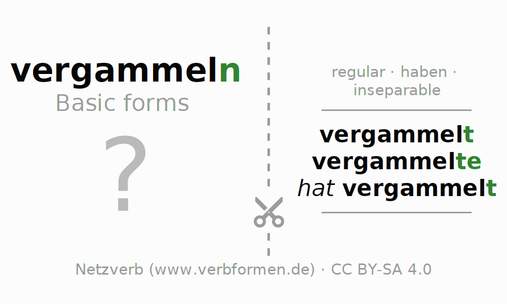 Flash cards for the conjugation of the verb vergammeln (hat)
