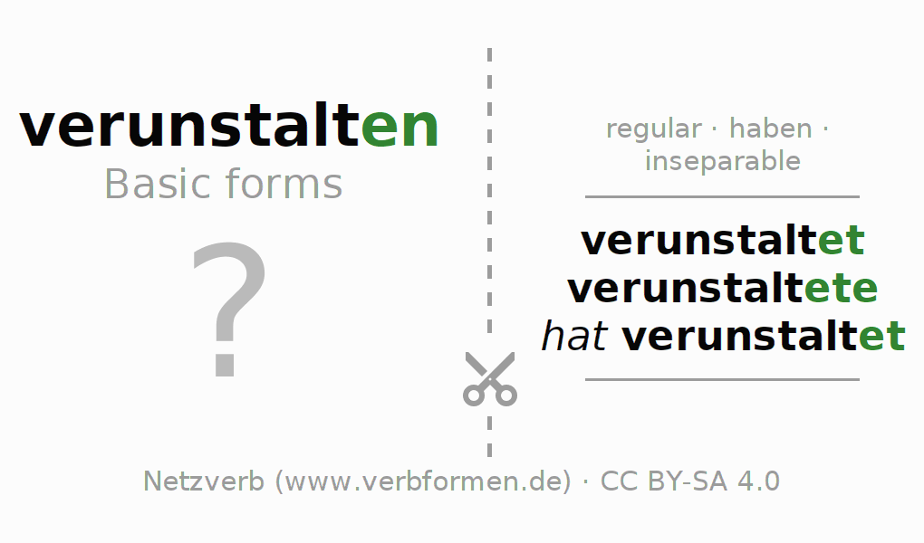 Flash cards for the conjugation of the verb verunstalten