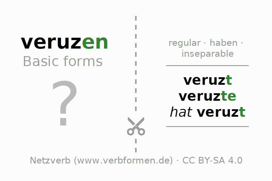 Flash cards for the conjugation of the verb veruzen