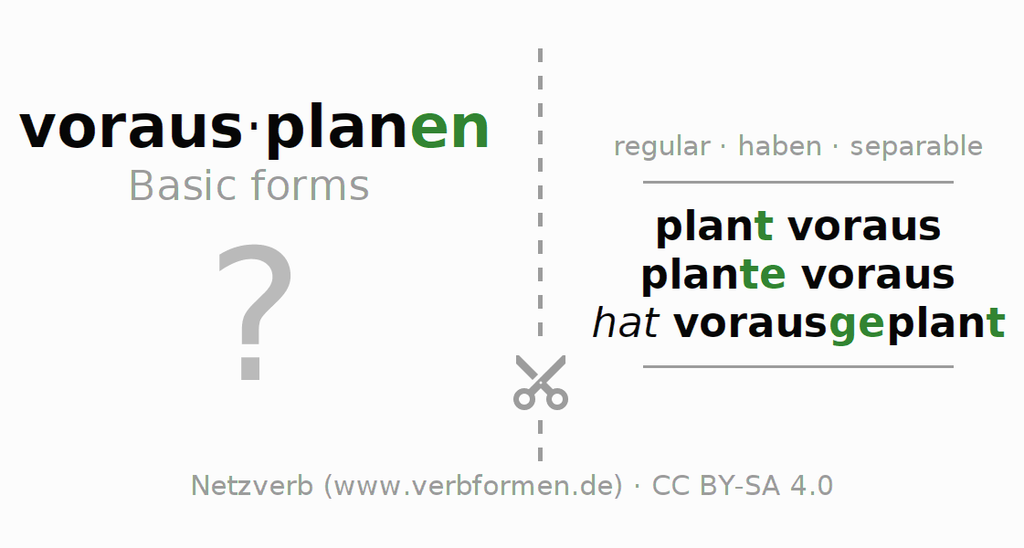 Flash cards for the conjugation of the verb vorausplanen