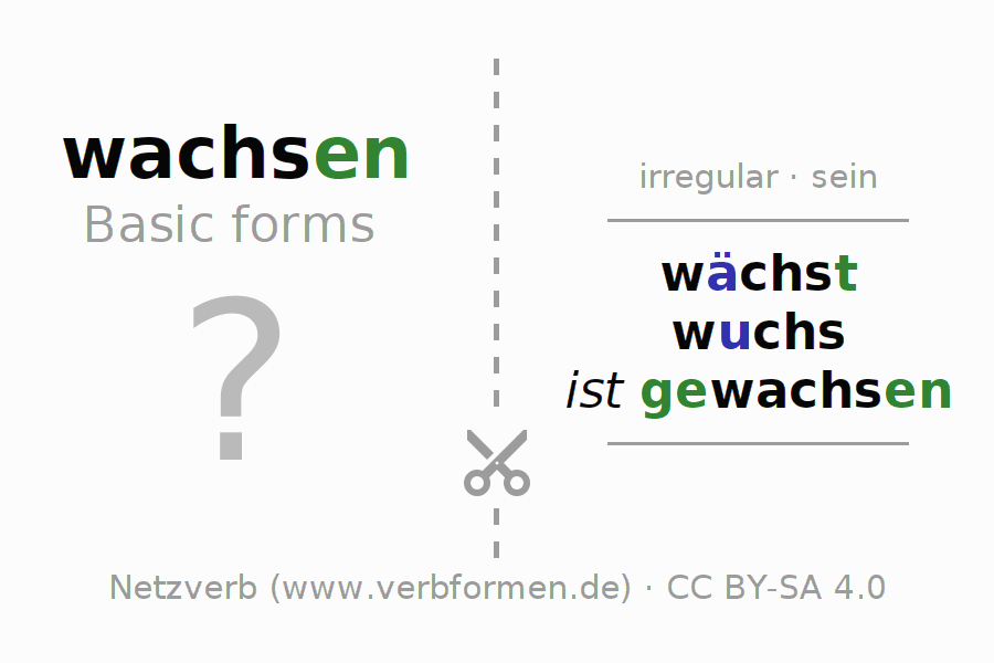 Flash cards for the conjugation of the verb wachsen (unr) (ist)
