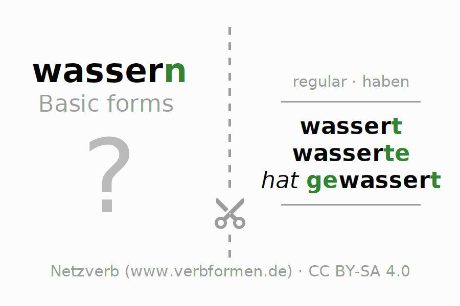 Flash cards for the conjugation of the verb wassern (hat)