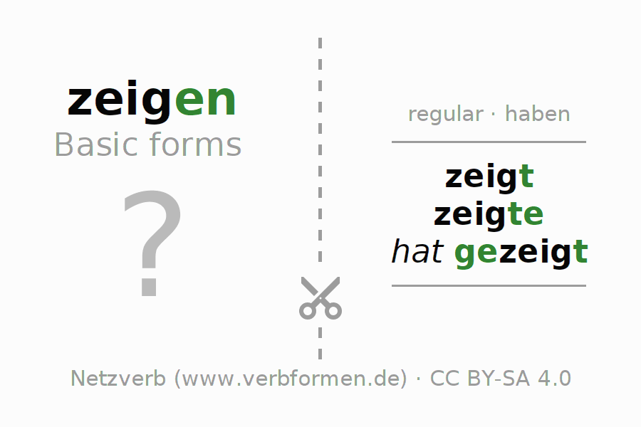 Flash cards for the conjugation of the verb zeigen