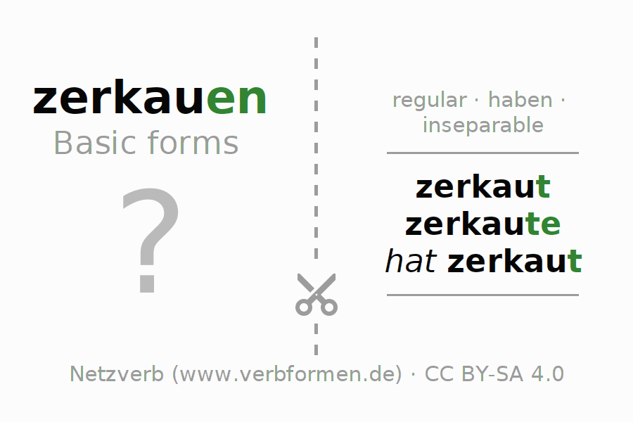 Flash cards for the conjugation of the verb zerkauen