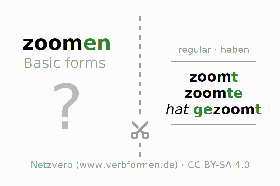 Flash cards for the conjugation of the verb zoomen