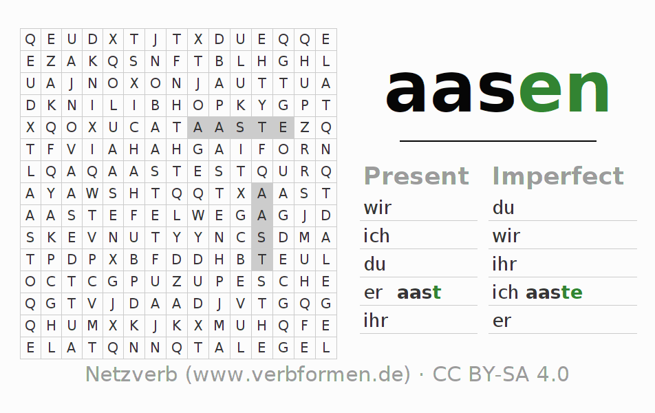 Word search puzzle for the conjugation of the verb aasen