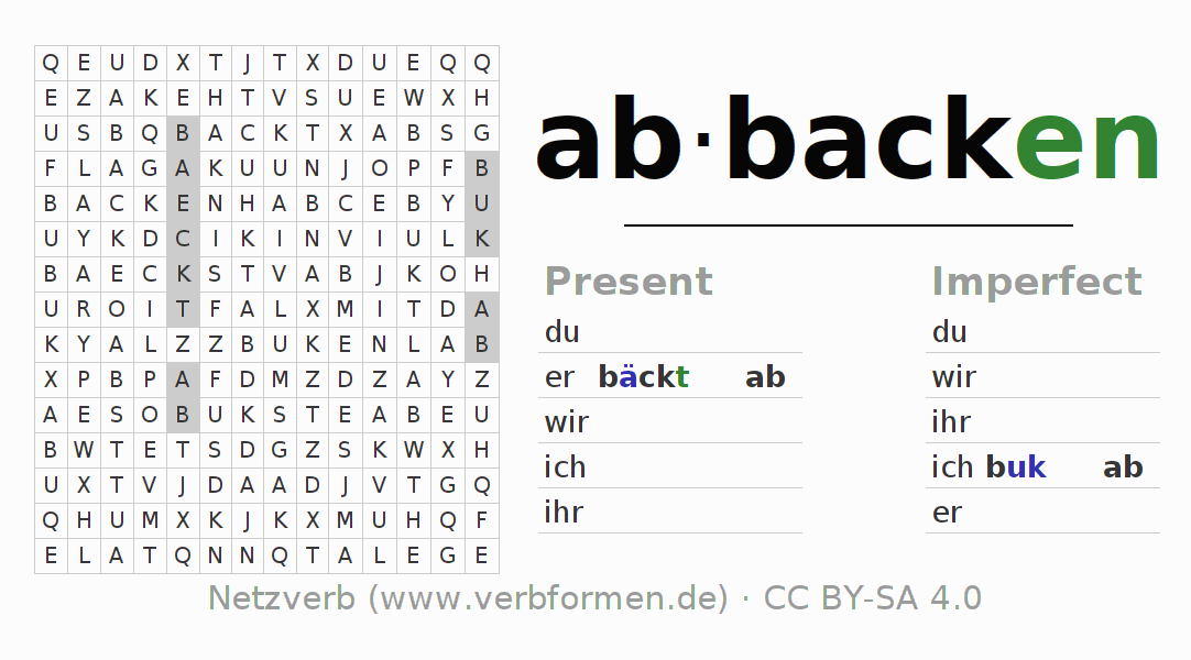 Word search puzzle for the conjugation of the verb abbacken (unr)