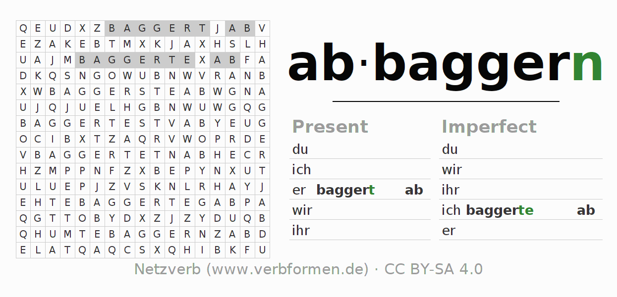Word search puzzle for the conjugation of the verb abbaggern