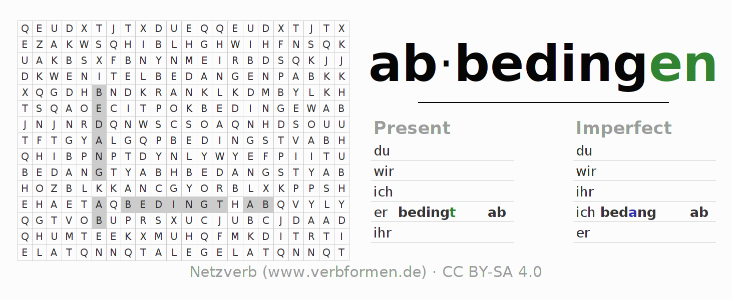 Word search puzzle for the conjugation of the verb abbedingen