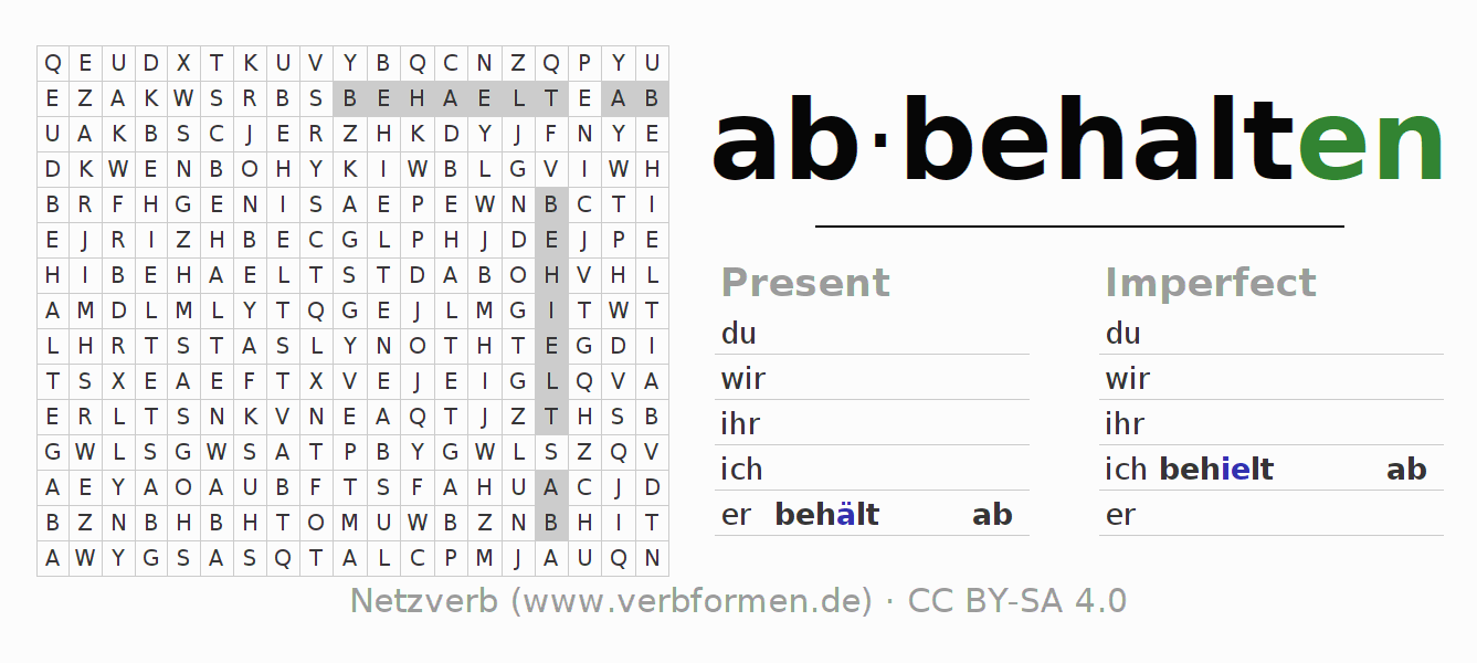 Word search puzzle for the conjugation of the verb abbehalten