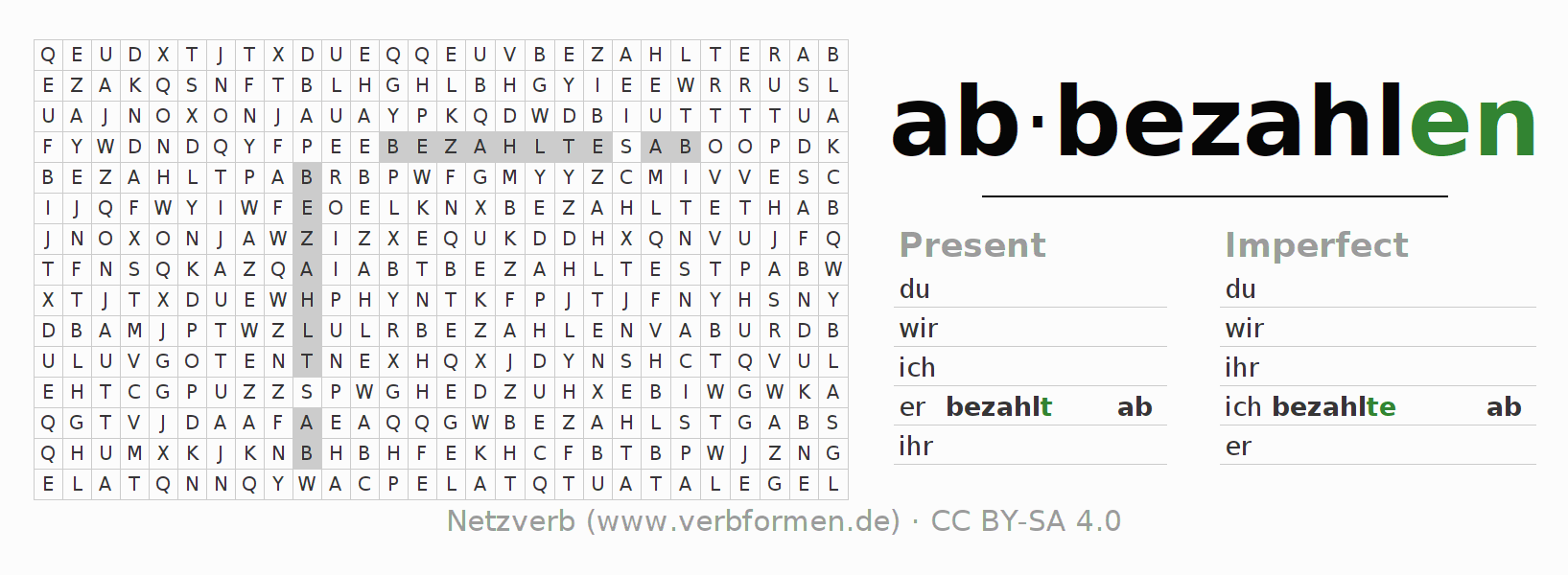 Word search puzzle for the conjugation of the verb abbezahlen