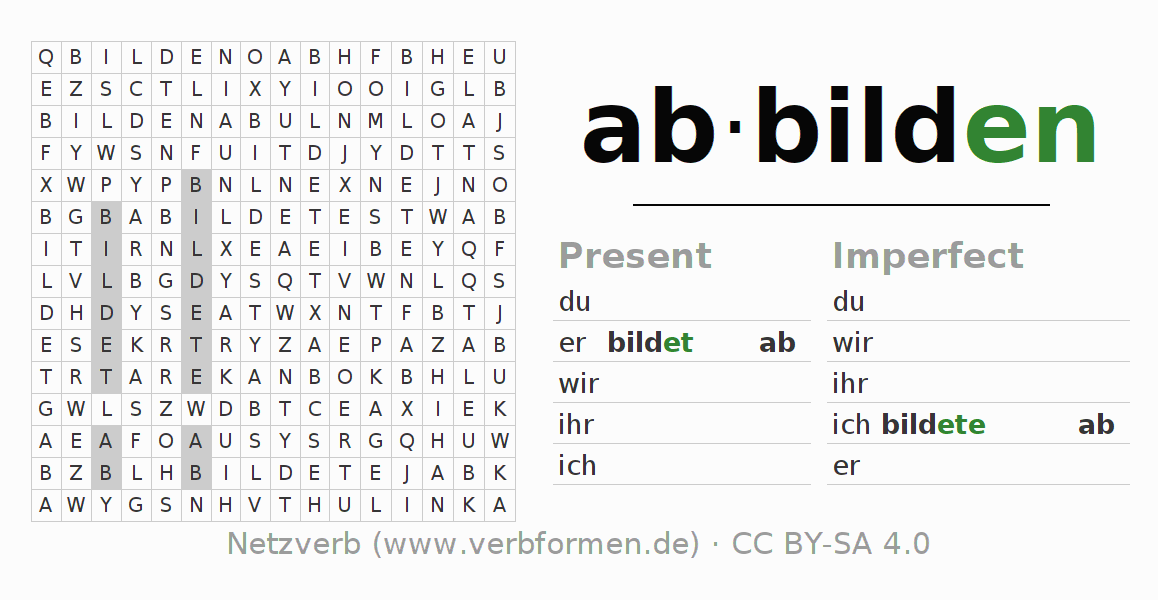 Word search puzzle for the conjugation of the verb abbilden